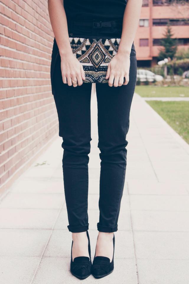 look outfit total black negro stiletto dorado marrón beige trendy two trendytwo carmen marta gemelas conjunto elegante 1