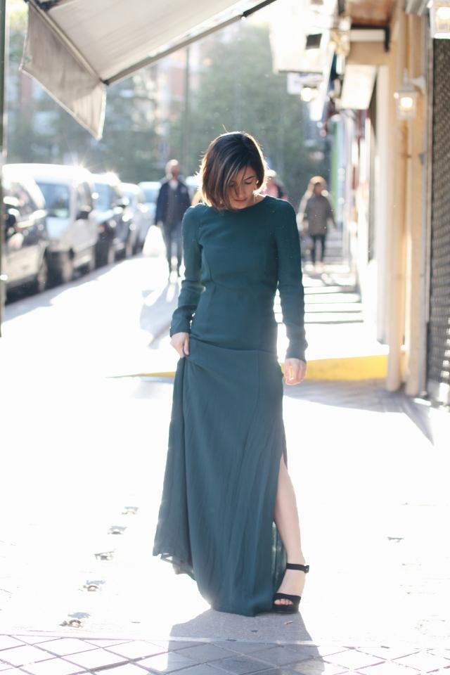 boda bautizo comunión vestido largo verde espalda al aire low cost barato verde trendy two moda fashion blog blogger gemelas carmen marta barato