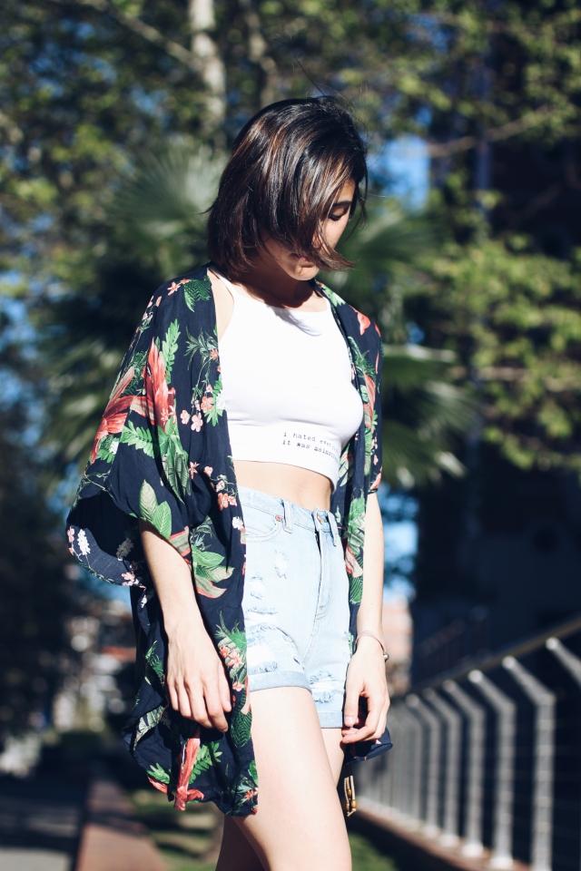 low cost outfit vestido coachella kimono short vaquero girl trendy tendencia gemelas two blog